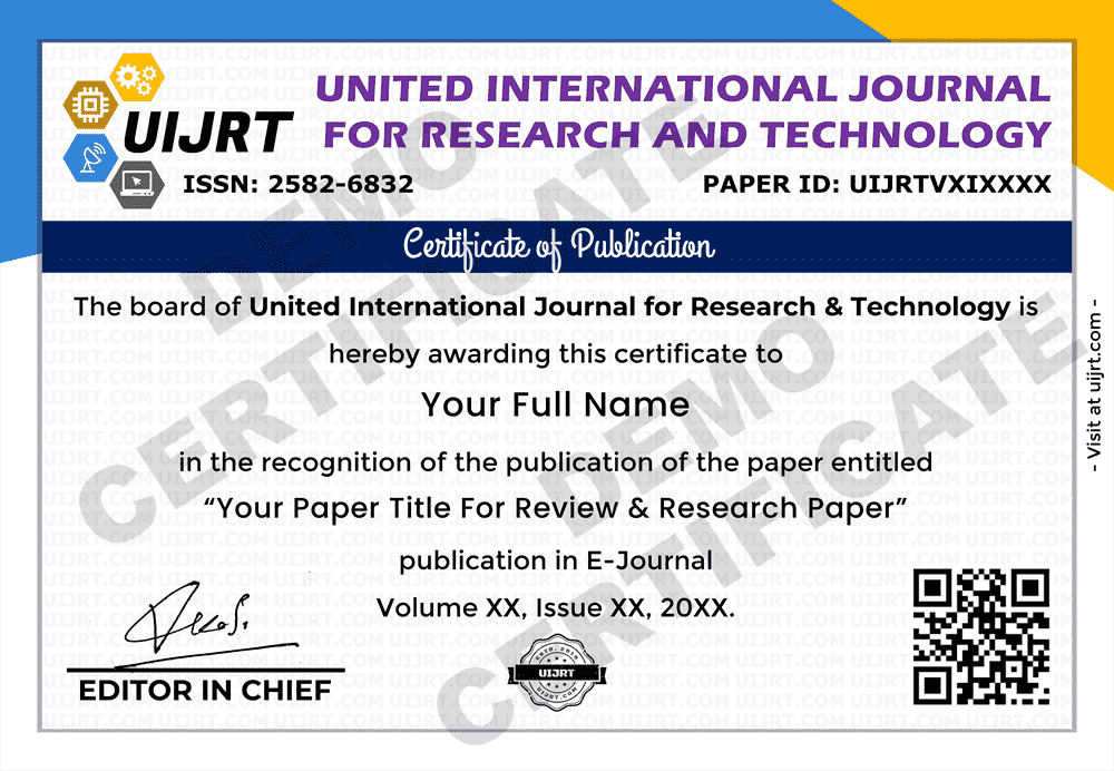 Certificate of Paper Publication - International Journal.